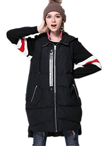 XYXY Moda invernale con cappuccio giubbotto giacca donna cotone gilet . black . xxl