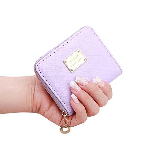 Handtasche Damen Reißverschluss Frauen Leder Kleine Brieftasche Kartenhalter Zip Geldbörse Clutch Soft Handtasche Sunday (lila) (Reise Lila Brieftaschen)