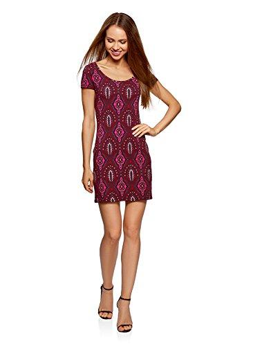 oodji Ultra Damen Enges Jersey-Kleid, Violett, DE 34/EU 36/XS