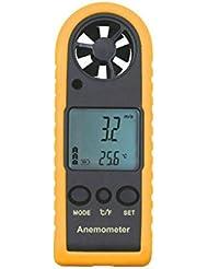 LCD Digital de la Velocidad del Viento del Anemómetro / Velocidad del Aire / Prueba de la Temperatura del Aire de Color Amarillo