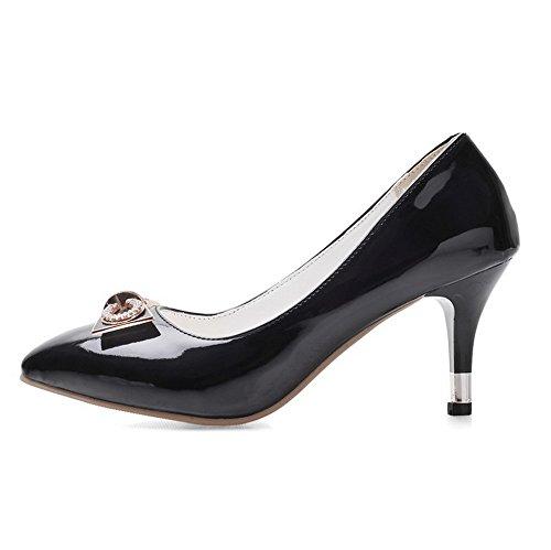 VogueZone009 Femme Pu Cuir à Talon Correct Pointu Couleur Unie Tire Chaussures Légeres Noir