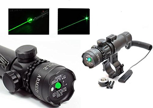 DOBO Set Puntatore Laser di precisione fascio LED verde mira paintball caccia softair tiro mirino point Caccia fucile pistola completo Di Attacchi, Cordino Remoto, Batteria e Caricabatterie