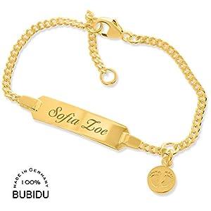 Baby ID Armband gold Mädchen Taufarmband mit Gravur ❤️ Babyarmband 925 Silber ❤️ Taufschmuck mit Namen Junge kurz 12cm…