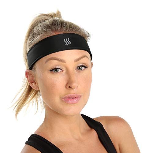 saaka Damen Klassische Klettverschluss Haarband. Feuchtigkeitstransport, vollständig verstellbar, Best für Arbeiten Out, Yoga, Laufen, Crossfit & alle Sport, unisex, schwarz Band-do-rag