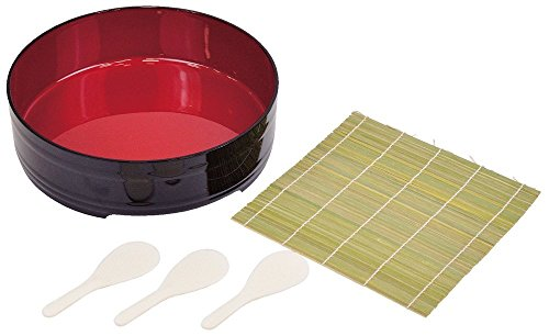 Sushi Making Set Includes: 1pc Plastic Lacquer Hangiri, 1pc Large Bamboo Rolling Mat, 4pc Small Bamboo Rolling Mat, 4pc Wooden Rice Spatula