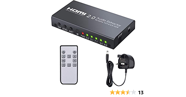 LiNKFOR HDMI Audio Extractor 2 IN HDMI Audio Splitter with SPDIF and 3.5mm out 4K@60Hz YUV 4:4:4 HDR ARC HDCP 2.2 HDMI Switch for HDTV Laptop Projector PS4 Pro Etc