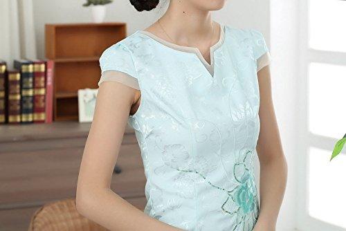 Bigood Robe Cheongsam Femme Coton Qipao Chinois Cocktail Courte Bleu