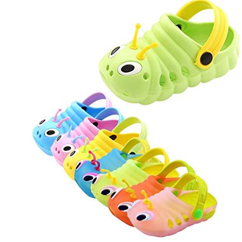 Dorical Süß Karikatur Caterpillar Hausschuhe Sommer Unisex Kleinkind Baby Jungs Mädchen Mädchen Indoor-Schuhe Sandalen Strand Sandalen Flip Schuhe Strandschuhe Badezimmer Schuhe(Grün,28 EU)