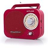 Muse M-Radio portable 055RD 2bande FM/MW, Style Vintage, poignée, antenne télescopique Rouge