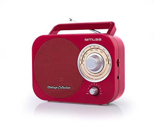 Muse M-055 RD Tragbares 2 Band-Radio FM/MW, Vintage Stil, Tragegriff, Teleskopantenne rot