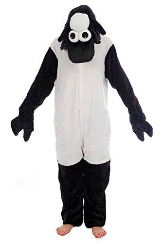 Unisex schwarzes Schaf Black Sheep onesie Kigurumi Pyjama Karneval Kostüm Maskenkostüm Kapuzenpulli Schlafanzüge Weihnachtsgeschenk (S(height 150cm-160cm))