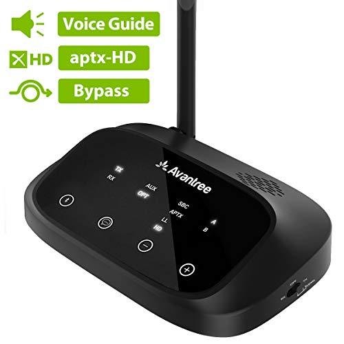 Avantree Langer Reichweite Bluetooth Transmitter Sender für TV, aptX HD Low Latency Kabelloser Audio Adapter Receiver Splitter für 2 Kopfhörer, Sprachanleitung, Touchscreen - Oasis Plus