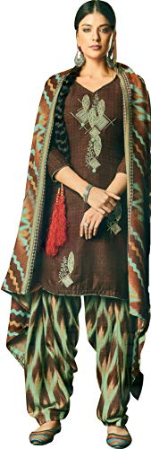 Exotic India Deep-Mahogany Patiala Salwar Kameez Suit with Embroidered Bootis and Printed Dupatta - Brown Garment Size 42 - Patiala Suit