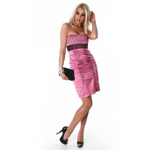 Exklusives Corsagen Cocktailkleid in mehreren Farben (4886 Pink Schwarz