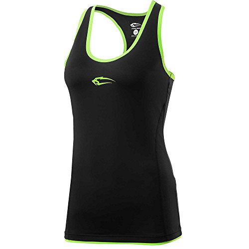SMILODOX Sport Tank Top Damen | Trainingsshirt ideal für Gym Fitness & Workout | Ärmelloses Sport T-Shirt - Bequemer Schnitt - Sporttop- Unterhemd - Trägershirt, Größe:S, Farbe:Black-Neon Green (T-shirt Muskel-shirt Ärmelloses)