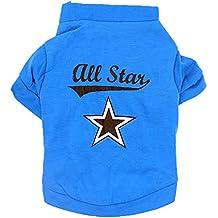 Fulltime(TM)-Ropa de Moda Traje de Pequeño Perro Gato Lindo Cachorro Camiseta (L, Azul)