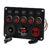 CALISTOUK Panneau de commande à bascule LED 5 Gang 12 V/24 V Voiture Bateau Marine 2 USB et Voltmètre