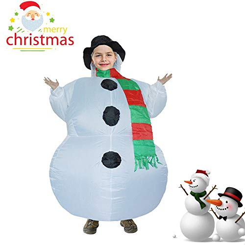 Wokee Herren Aufblasbarer Schneemann Weihnachts Kostüm Kind Kostüm Deluxe Disguise Frosty der Schneemann für Party Karneval Uniformen Cosplay (Frosty Kostüm Schneemann)