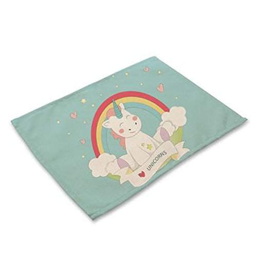 Tovagliette da tavola, in cotone, tovagliette antiscivolo per tavolo da pranzo, tovaglietta personalizzata per bambini  unicorn