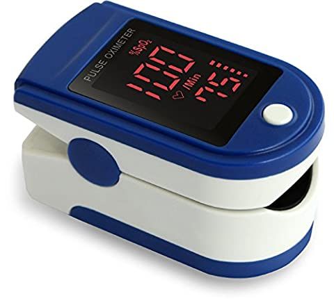 Zacurate® Pro Series CMS 500DL Fingertip Pulse Oximeter Blood Oxygen Saturation Monitor with silicone cover, batteries and lanyard (Sapphire Blue)