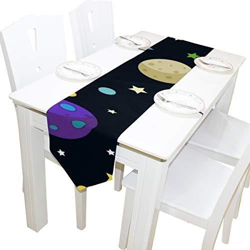 Yushg Cartoon Space Shiny Sonnensystem Planet Dresser Schal Tuch Abdeckung Tischläufer Tischdecke Platzdeckchen Küche Esszimmer Wohnzimmer Home Hochzeitsbankett Dekor Indoor 13x90 Zoll