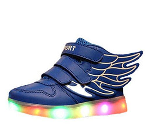 Wealsex Baskets Mode Motif D'ailes PU Cuir Scratch LED Lumière Clignotant 7 couleurs USB Rechargeable Enfant Unisexe Garçon Fille Bleu