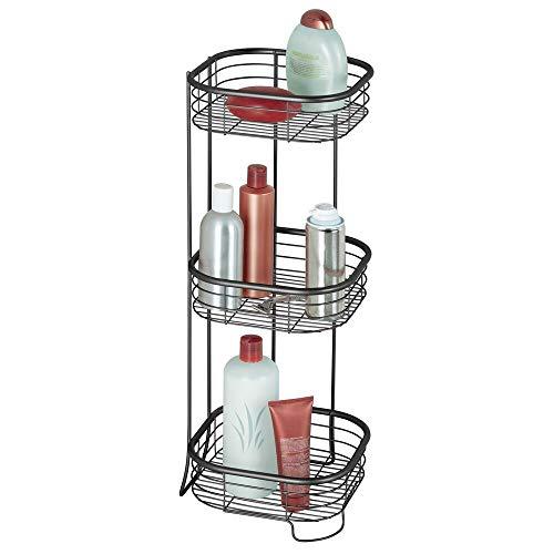 mDesign Estantería de baño - Mueble esquinero para la Ducha de Acero Inoxidable con 3 baldas - Estante de baño para lociones, Toallas de Mano, jabón, etc. - Negro Mate