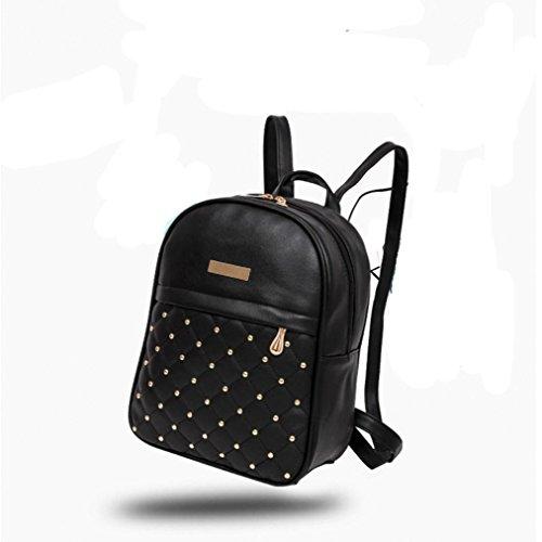 lo zaino , feiXIANG 2017 Donna ribattino zaino moda causale borse perline femmina borsa a tracolla (Nero) Nero