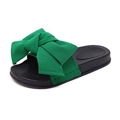 Damen Sandalen Sommer Fashion Sweet Bowtie Plateau Flach Pantoffeln Rutschen auf Casual Beach Shoes Frauen (Tan Bowties)