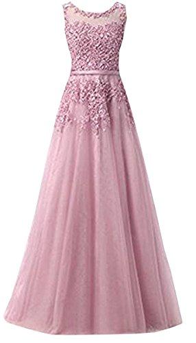 Ever Love A-Linie Lang Spitze T¨¹ll R¨¹ckenfrei Abendkleid Ballkleid Hochzeit Brautjungfernkleid mit Träger-Farbe: Light Purple, Gr. 44 - Ballkleid Light
