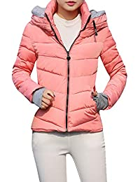 d9d0d5c7a224 FNKDOR Womens Short Slim Hooded Jackets Coats Thick Outerwear Quilted  Padded Puffer Bubble Parka Jacket