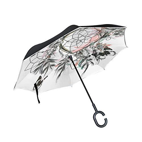 SKYDA Paraguas Plegable diseño de Mariposas y atrapasueños con Plumas invertidas, Doble Capa, Resistente al Viento, Paraguas para Coche, Lluvia al Aire Libre, con Mango en Forma de C
