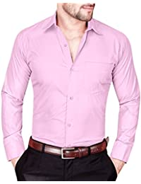 a82c64c1 S.N. Formal Shirts for Men Mens Cotton Shirts | Pink Colour Shirts Look |  Slim fit
