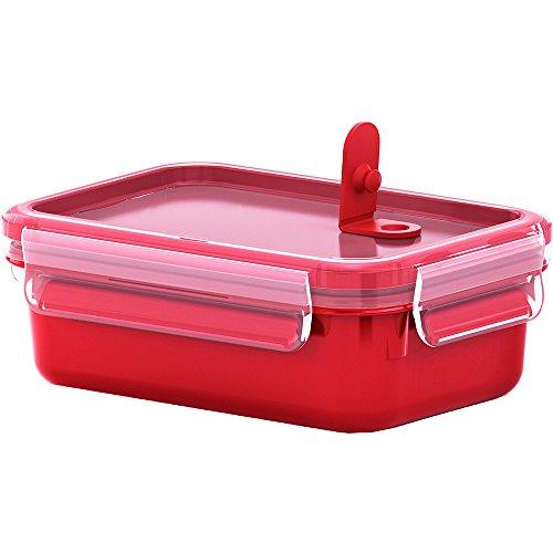 Emsa Mikrowellendose, Lunchbox, 0,55 Liter, Rot/Transparent, Clip & Micro, 517771