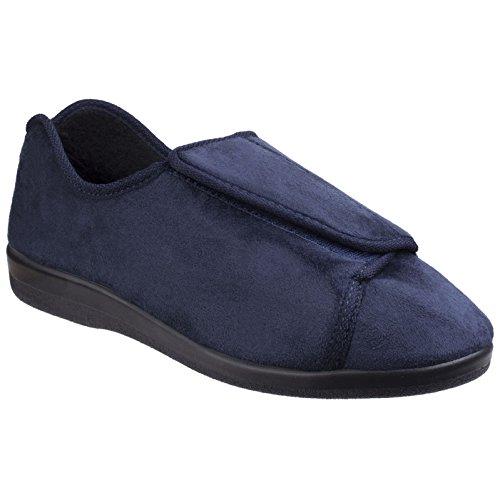 2584a6b1b33 GBS Med Femmes Med Walton Fermeture Velcro Pantoufles Chaussons Textile  Bleu Marine 36