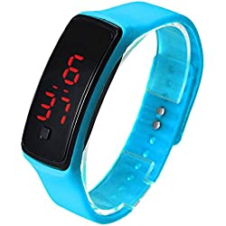 FEITONG Ultra Thin Sports Silicone Digital LED Wrist Watch Blue