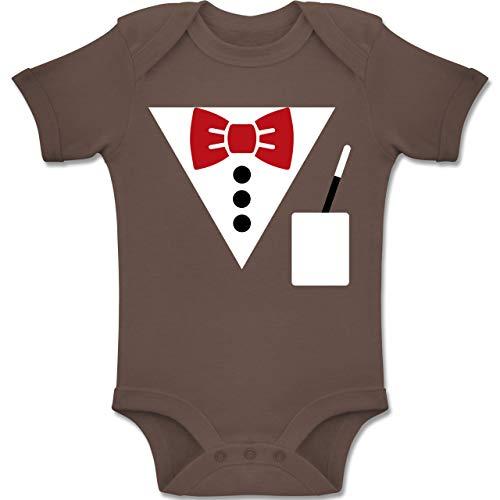 Shirtracer Karneval und Fasching Baby - Magier Kostüm - 6-12 Monate - Braun - BZ10 - Baby Body Kurzarm Jungen (Winter Hexenmeister Kostüm)