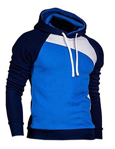 Bestgift Herren T-Shirt Hoody Pullover Multi-Taste Hoodie Shirt Knopfleiste T-Shirt Dunkel Blau+Blau+Weiß L (3-tasten-sweatshirt Für Männer)
