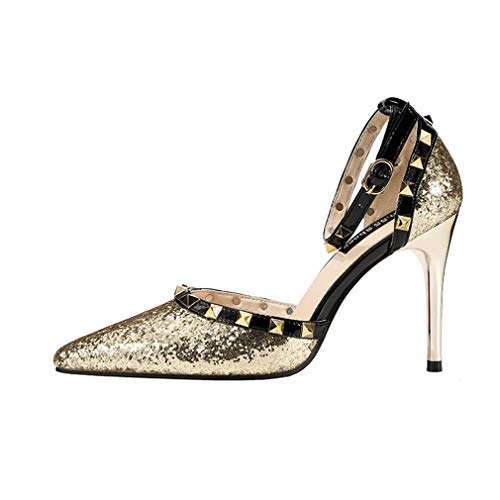 YAN Women es High Heels Fashion Pointed Stiletto Nightclub Sexy Studded Shoes Ankle Strap Sandals Black Red Silver Gold Pink,Gold,39 Black Studded Flat