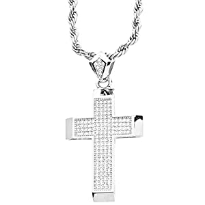 .iced-out. Bling Micro Pave Anhänger – Kreuz Silber