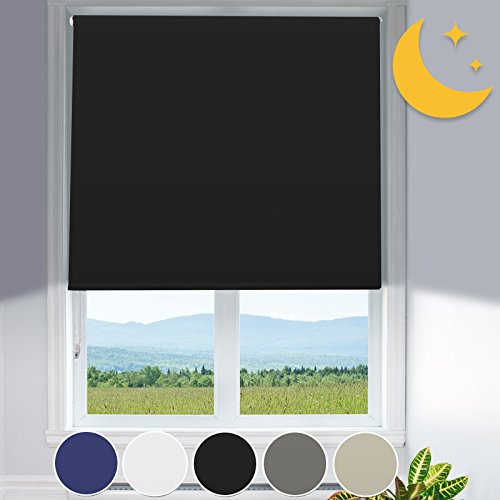 Verdunkelungsrollo mit Hitzeschutz | lichtundurchlässig | Klemmfix ohne Bohren | Fensterrollo in Schwarz | Rollo für Fenster in vielen Größen ( 110 cm breit und 150 cm lang )