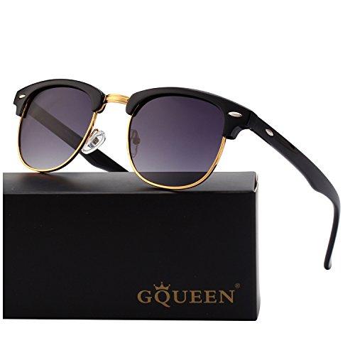 GQUEEN Horn Gestell Halbrahmen Polarisierte Sonnenbrille GQO6 (Für Sonnenbrille Ersatz-gläser Die)