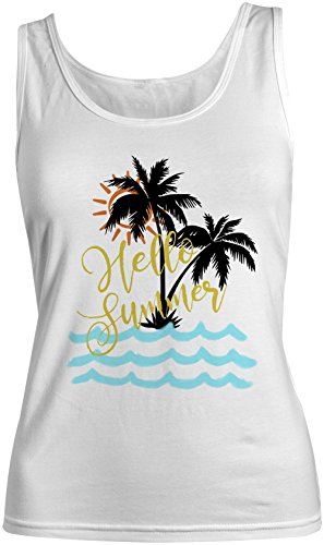 Hello Summer Island Palms Vacation Holiday Femme Tank Top Debardeur Blanc