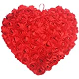 The Purple Tree Red Rose Heart Cushion for Valentines Day Gift (Pack of 1 , 35x35 cm) Famous 3D Rose Heart Pillow Cushion , B