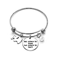 Idea Regalo - Bracciale rigido per migliore amica / sorella, perfetto come regalo di laurea, ciondolo a forma di elefante e ciondolo con scritta