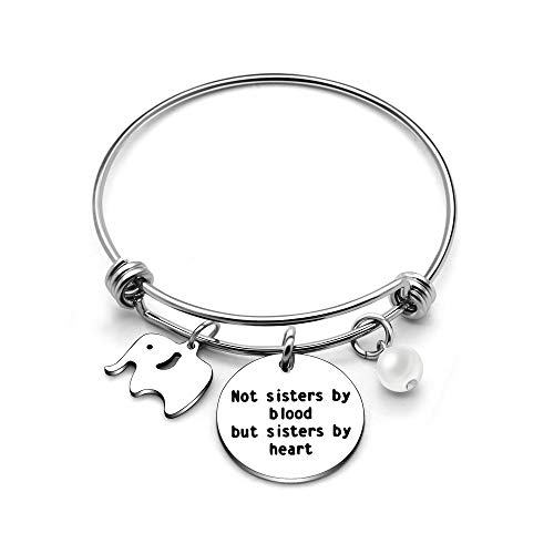 Bracciale rigido per migliore amica / sorella, perfetto come regalo di laurea, ciondolo a forma di elefante e ciondolo con scritta...