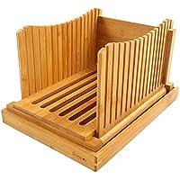 bambú Rebanadora de pan Plegable y comprimido Ajustable Guía de rebanadora de pan Con bandeja Recoger Migas de pan para Pan casero Pan rustico
