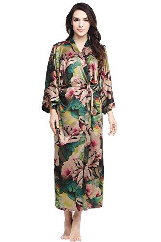 nmantel Maxi Lang Seide Satin Kimono Kleid Blüten Muster Kimono Bademantel Damen Lange Robe Blumen Schlafmantel Girl Pajama Party 135 cm Lang (Tropisch) ()