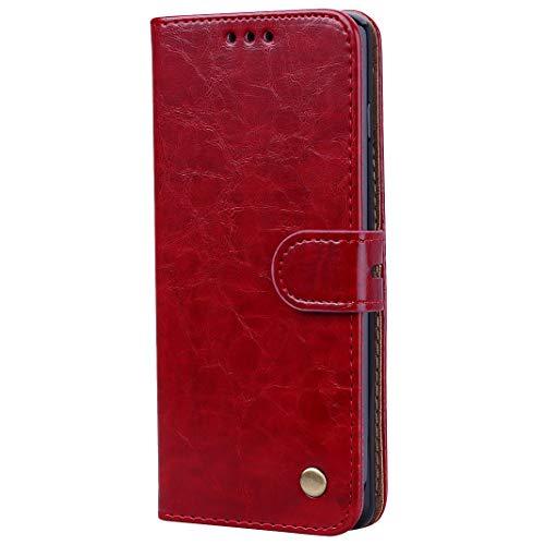 LolStore Flip Hülle für Samsung Galaxy S10, Öl Wachs-Muster PU-Leder+inneres TPU Anti-Kratzer Staubdicht Fälle mit [Unterstützung][Magnetschnalle][Seitenschlitz] für Samsung Galaxy S10, Rot -