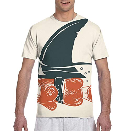 Zhgrong Men Tee Shirts Fish with Shark -fin Short Sleeve T-Shirts Crew Neck T Shirt -